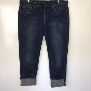 Joe's Monroe Cut Cuffed Cropped Blue Jeans Size 32